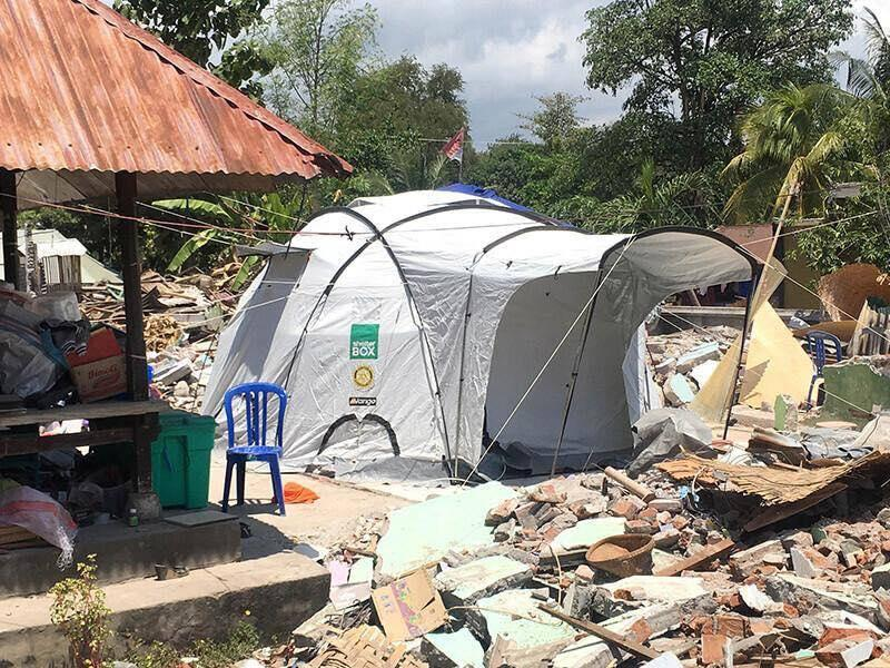 Shelterbox tent as used for victims of natural disasters in Indonesia